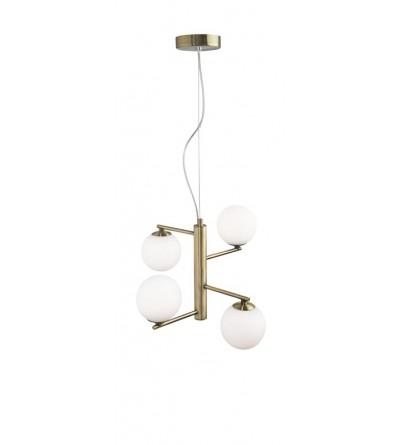 Nova Luce Lampa wisząca AGRIGENTO opal / mosiądz